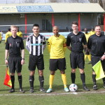 Match Officials and Captains (L-R): Steve Castle (4th Official); James Appleby (Assistant Referee); Luke Wiedeman (St Marys); Ashley Innis (Clarendon); Joe Nolan (Referee); Lee Ashman (Assistant Referee)